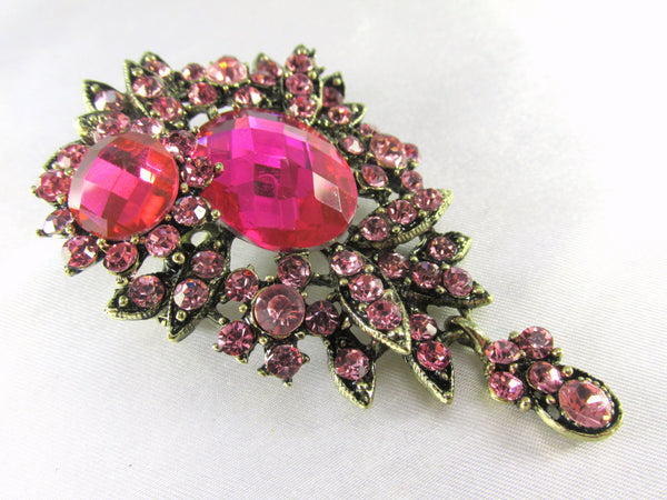 Pink Teardrop 2.75 Inch Brooch in Antique Brass-Brooch-Odyssey Cache