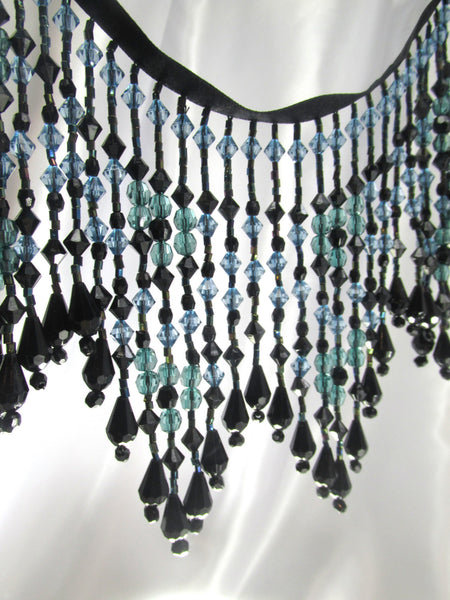 Deep Waters Beaded Fringe Trim in Aqua and Light Blue-Beaded Fringe-Odyssey Cache