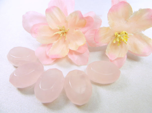 Rose Quartz Pink Semiprecious Stone Faceted Ovals (5)-Jewelry Beads-Odyssey Cache