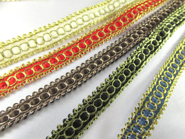 Ivory Gold, Red Gold, Black Gold, Brown Bronze or Teal Gold Half Inch 10mm Flat Woven Braid Trim - Odyssey Cache