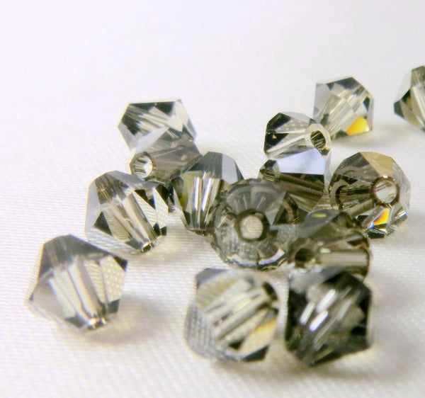 Black Diamond Satin Swarovski 5mm bicones (25)-Jewelry Beads-Odyssey Cache