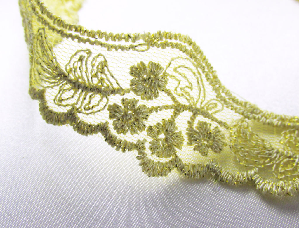 Vintage Style Light Gold Metallic Flower Scalloped Lace Trim-Trims-Odyssey Cache