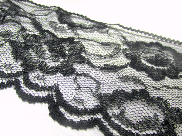Vintage 3 inch wide Black Lace Trim - Sale-Trims-Odyssey Cache