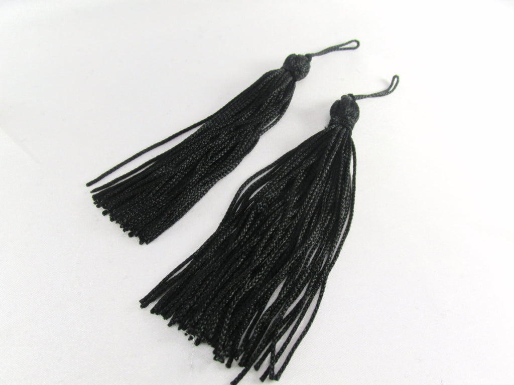 Black 5 inch Chainette Tassels for Trim or Decor (2)-Trims-Odyssey Cache
