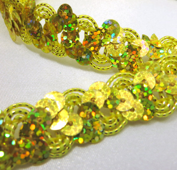 Metallic Thread Accent 5/8 Inch Zig Zag Holographic Sequined Trim-Trims-Lemon Yellow Gold-Odyssey Cache