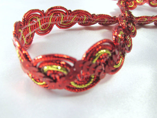 Red and Metallic Gold 5/8 inch Zig Zag Sequined Trim-Trims-Default Title-Odyssey Cache