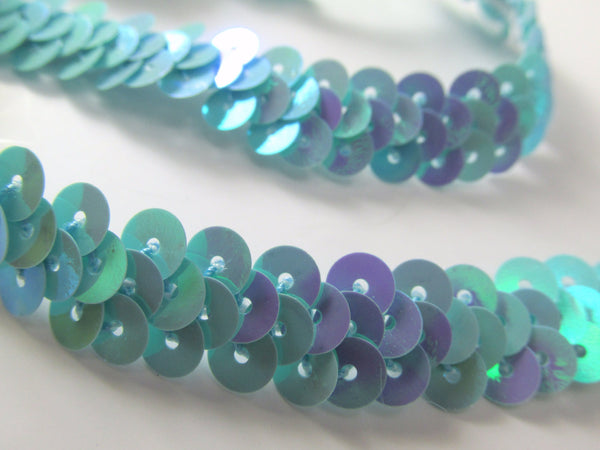 Narrow 10mm Stretch Sequined Trim in 5 colors-Trims-Aqua AB-Odyssey Cache