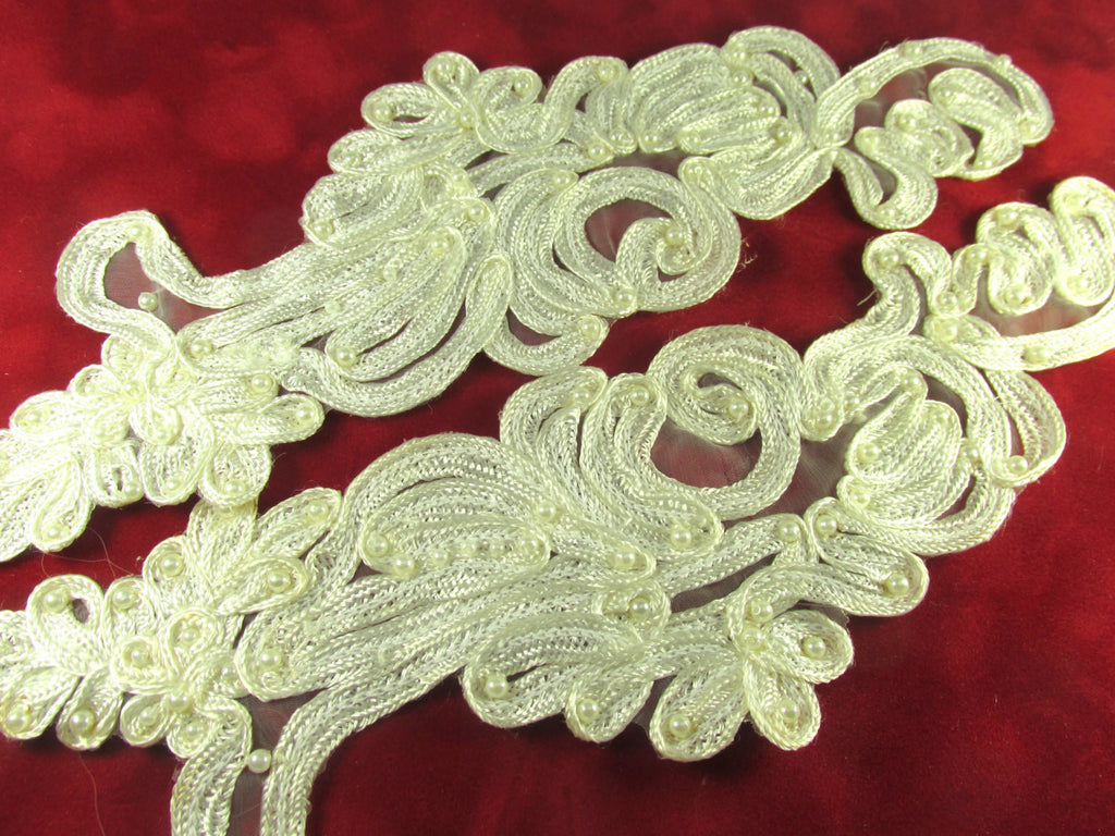 Large Ivory Soutache Wisteria 10 Inch Appliques (2) - Odyssey Cache