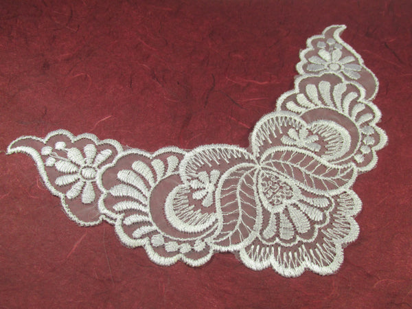 White 7.75 Inch Bridal Yoke Applique or Lace Trim - Odyssey Cache
