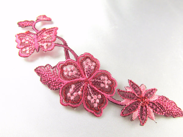 Rose Pink Mauve Iron on Flower Leaf and Butterfly Applique - Odyssey Cache