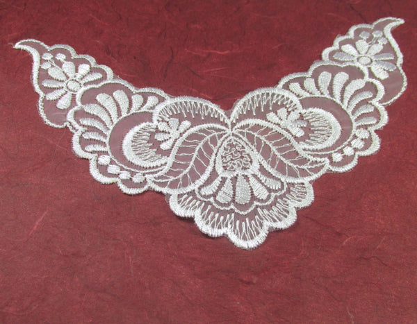 White 7.75 Inch Bridal Yoke Applique or Lace Trim-Appliques-Odyssey Cache