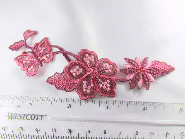 Rose Pink Mauve Iron on Flower Leaf and Butterfly Applique-Appliques-Odyssey Cache