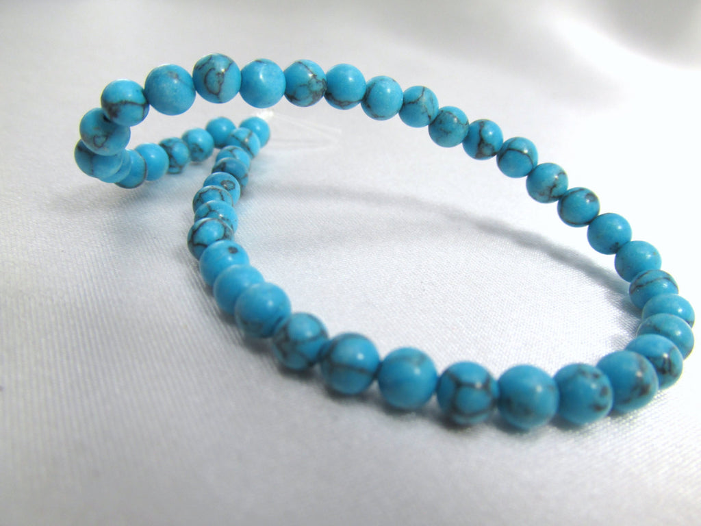 Turquoise Man Made Stone 4mm Round Beads (45)-Jewelry Beads-Odyssey Cache
