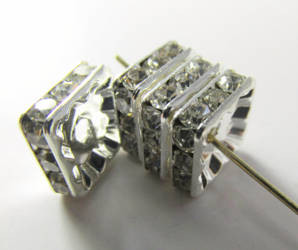Crystal Square 10mm Silver Metal Squaredelle Beads or Findings (4)-Jewelry Beads-Odyssey Cache