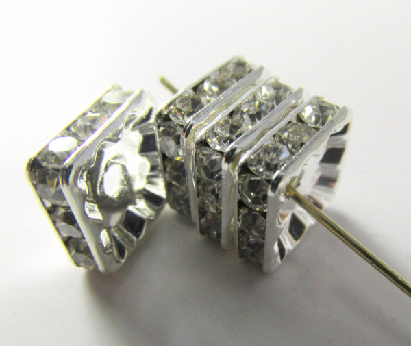 Crystal Square 10mm Silver Metal Squaredelle Beads or Findings (4) - Odyssey Cache
