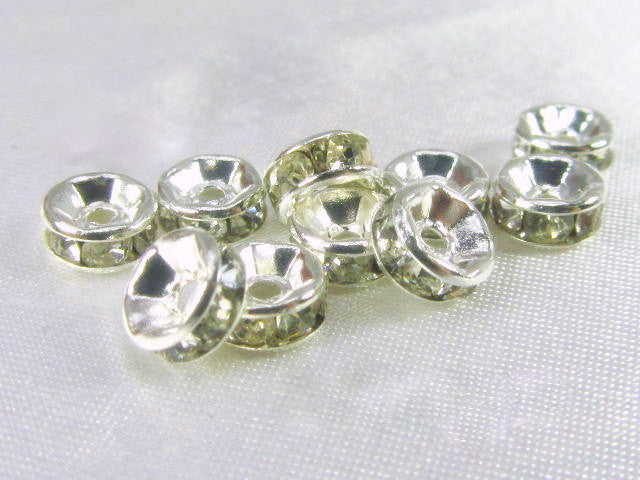 Silver Clear 7mm or 8mm Crystal Spacer Metal Beads (10)-Metal Beads and Findings-7mm-Odyssey Cache