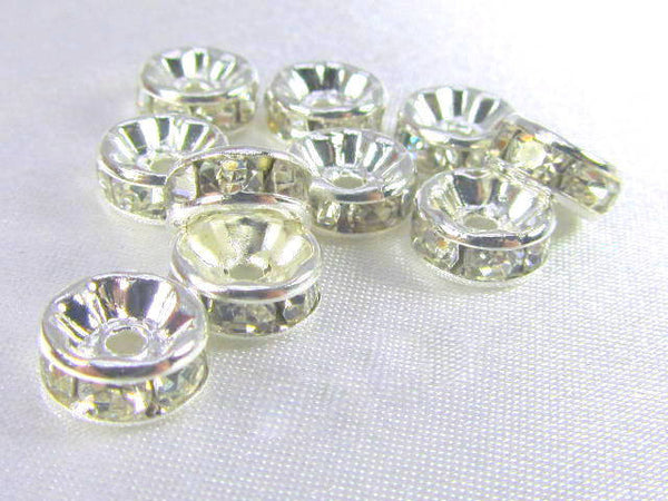 Silver Clear 7mm or 8mm Crystal Spacer Metal Beads (10)-Metal Beads and Findings-8mm-Odyssey Cache