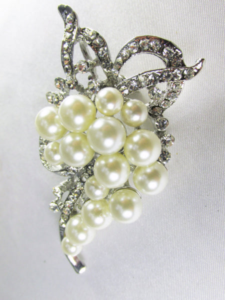 Ivory Off White Pearl Cascading Brooch in Silver-Brooch-Odyssey Cache