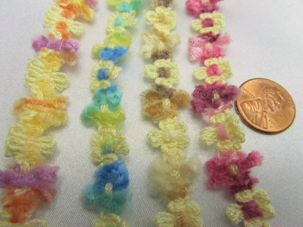 Soft 1/2 Inch Chenille Daisy Flower Trim in 5 spring, summer and autumn colors-Trims-Beach Aqua Blue Yellow-Odyssey Cache