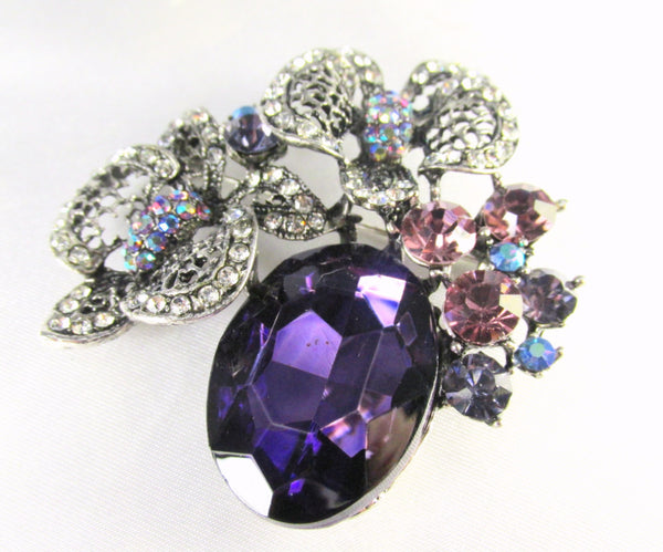 Purple and Antique Silver Cluster Brooch Pin with Quality Crystals - Odyssey Cache