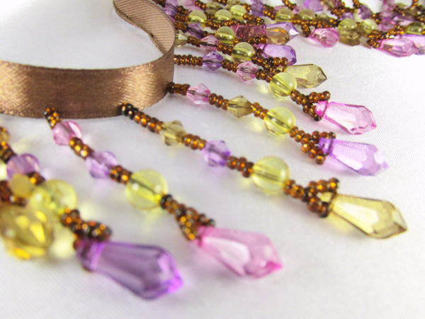 Pink Rose, Light Violet, Yellow and Brown Medium Beaded Fringe-Beaded Fringe-1/2 Yard-Odyssey Cache
