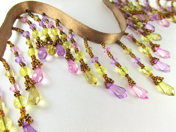 Pink Rose, Light Violet, Yellow and Brown Medium Beaded Fringe - Odyssey Cache