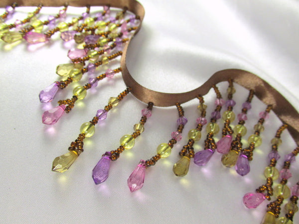 Pink Rose, Light Violet, Yellow and Brown Medium Beaded Fringe-Beaded Fringe-Yard-Odyssey Cache