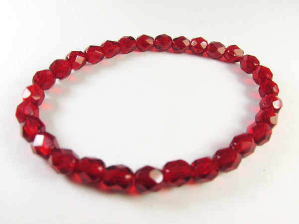 Red Czech Glass 6mm Faceted Fire Polished Beads (30) - Odyssey Cache