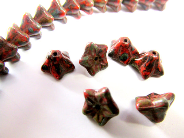 Marsala Dark Red Picasso Small 6mm x 9mm Czech Flower Beads (25)-Jewelry Beads-Default Title-Odyssey Cache