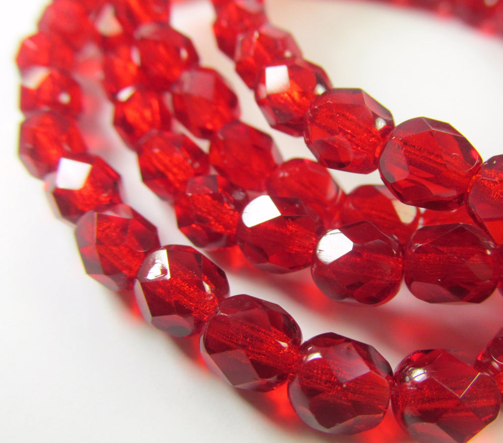 Red Czech Glass 6mm Faceted Fire Polished Beads (30)-Czech Glass-Odyssey Cache