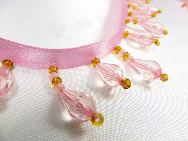 Pink and Gold Short Beaded Fringe Trim-Beaded Fringe-Yard-Odyssey Cache