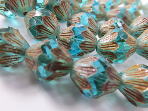 Aqua Turquoise Teal 13mm x 11mm Czech Baroque Bicones (5)-Jewelry Beads-Odyssey Cache