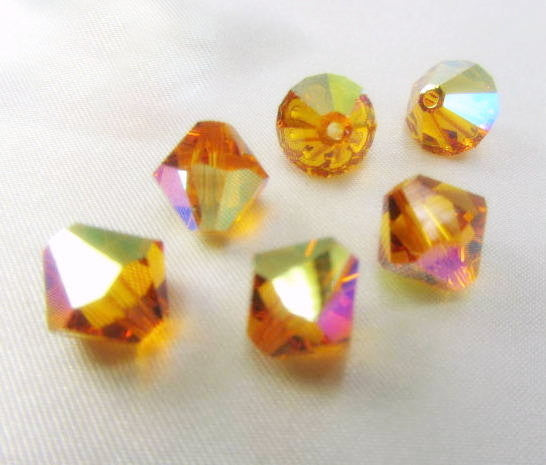 Topaz AB Orange Swarovski Crystal 5301 10mm Bicones (6)-Jewelry Beads-Odyssey Cache