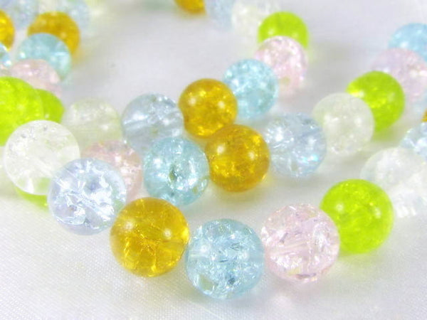 Multicolor Pink, Blue, Gold, Green and Clear 8mm Round Crackle Glass Jewelry Beads - Full Strand - Odyssey Cache