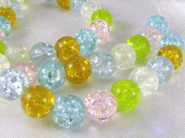 Multicolor Pink, Blue, Gold, Green and Clear 8mm Round Crackle Glass Jewelry Beads - Full Strand-Jewelry Beads-Odyssey Cache