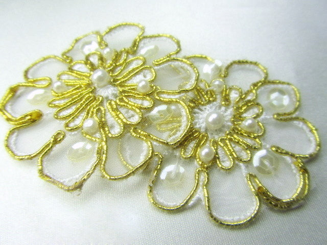 White and Gold Pearl and Sequined Flower Bridal Appliques-Appliques-Odyssey Cache