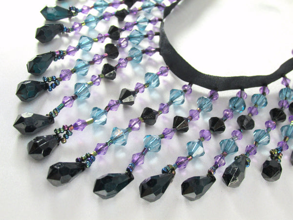 Night Skies Black, Turquoise and Purple 3.5 inch Medium Beaded Fringe Trim - Odyssey Cache