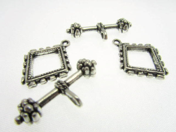 Antique Silver Square Pewter Toggle Clasp-Jewelry Beads-Odyssey Cache