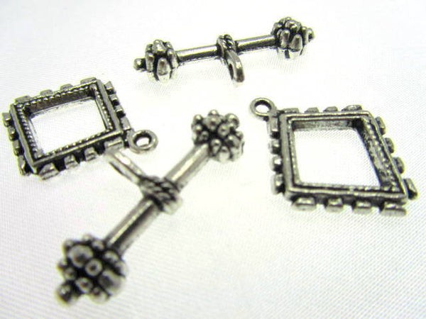 Antique Silver Square Pewter Toggle Clasp-Jewelry Beads-Default Title-Odyssey Cache