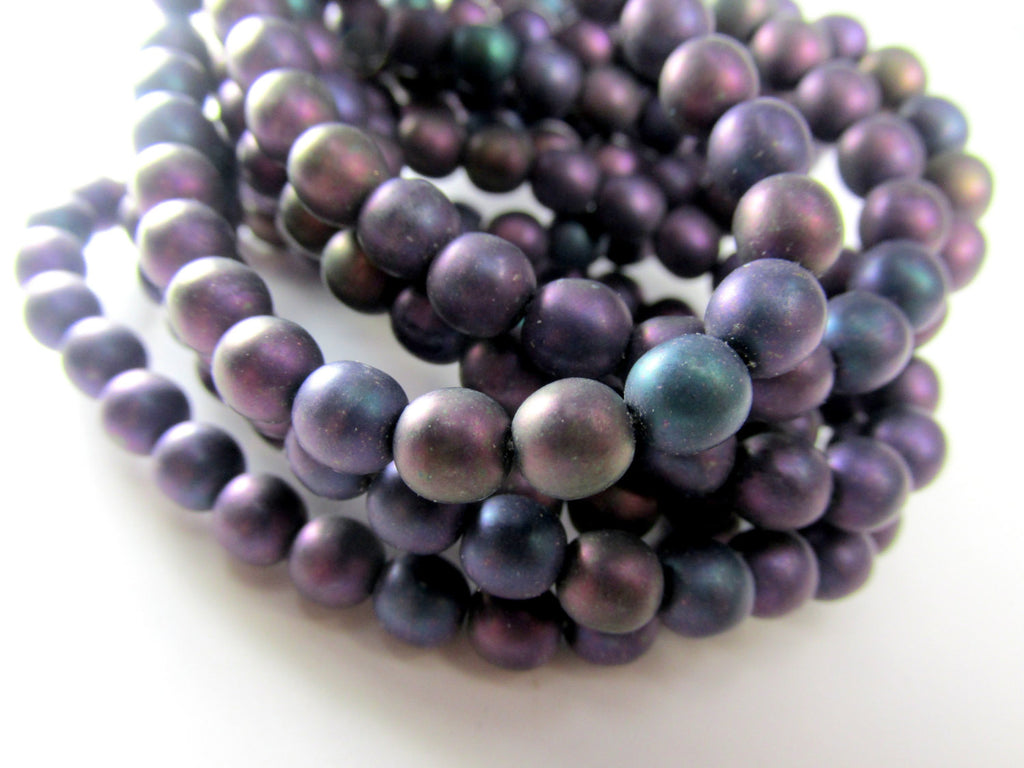 Purple Iris Matte Czech Glass 6mm Round Druks (25)-Jewelry Beads-Odyssey Cache