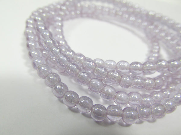Lavender Lilac Luster Czech 4mm Round Druks (50)-Jewelry Beads-Odyssey Cache
