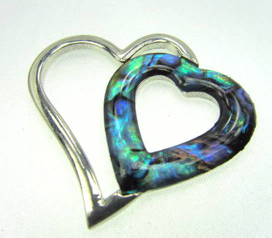 Floating Rhodium Plated Double Heart Paua Shell Pendant-Jewelry Beads-Odyssey Cache