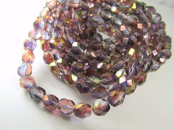 Purple Amethyst Luster 3mm Fire Polished Beads Czech Glass  (50) - Odyssey Cache