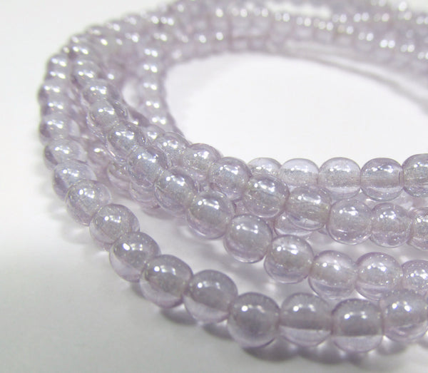 Lavender Lilac Luster Czech 4mm Round Druks (50)-Jewelry Beads-Default Title-Odyssey Cache