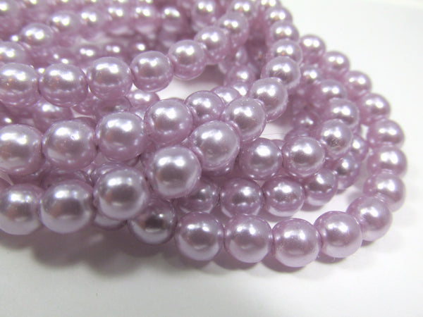 Light Lilac Pearl Czech Glass 6mm Round Druks (25)-Jewelry Beads-Default Title-Odyssey Cache