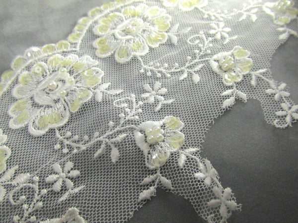 White Floral 5 inch Scalloped Pearl and Sequined Bridal Lace Trim - Odyssey Cache