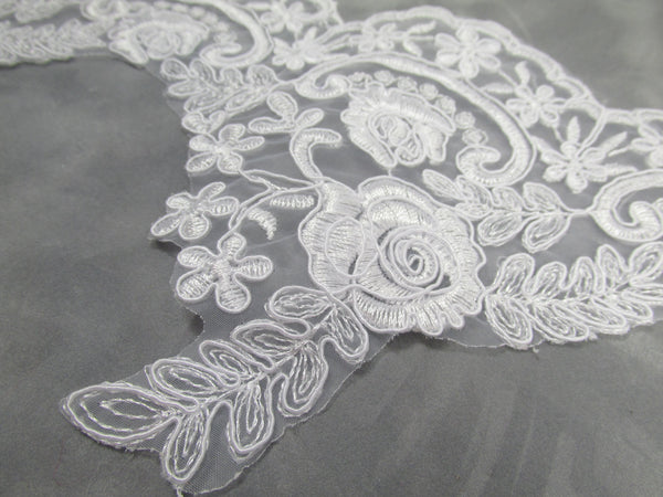 White Bridal 5.5 Inch Rose Floral Lace Trim - Odyssey Cache