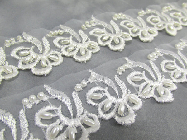 White Scalloped 2 inch Bridal Lace Trim with Sequins and Pearls - Odyssey Cache