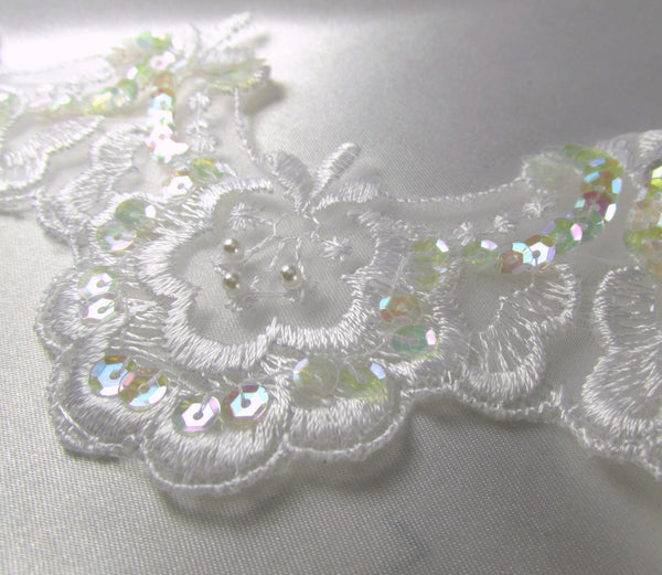 White Scalloped 2 inch Bridal Lace Trim with Sequins and Pearls-Trims-Default Title-Odyssey Cache