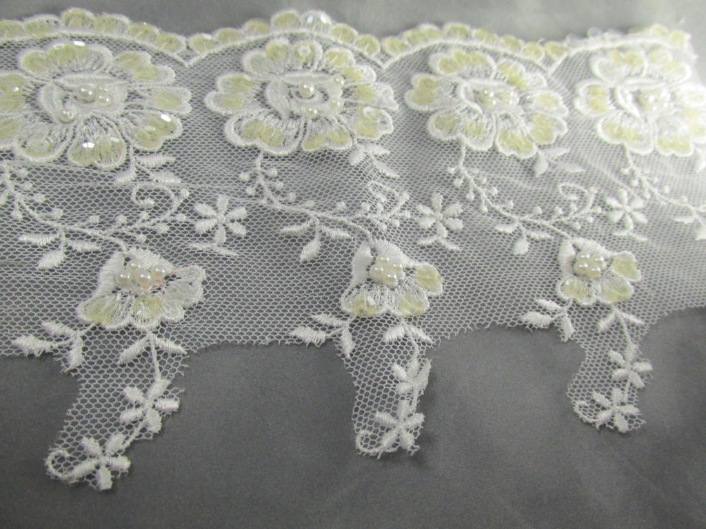 White Floral 5 inch Scalloped Pearl and Sequined Bridal Lace Trim-Trims-1/2 yard (9 flowers)-Odyssey Cache